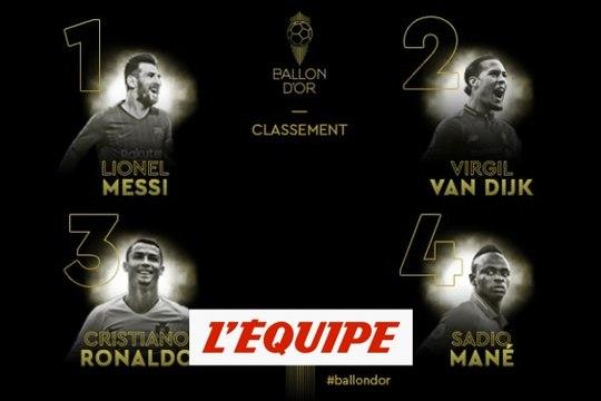 Van Dijk, Cristiano Ronaldo et Mané derrière Messi - Foot - Ballon d'Or 2019