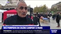 Des pompiers installent un campement place de la République à Paris pour dénoncer leurs conditions de travail