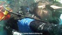 Epave a Koh Chang, des fusiliers, mérou et banc de batfish en Asie avec Thailand Diving Club Pattaya