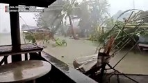 Typhoon Tisoy's strong winds and rain batter Gloria in Oriental Mindoro