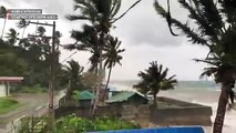 Typhoon Tisoy's strong winds persist in Mabini, Batangas