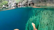 A crystal clear lake in the Philippines is a popular diving spot