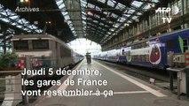 Grève du 5 décembre: la SNCF ne prévoit qu'un train sur 10