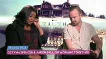 Watch Aaron Paul Gush Over 'Truth Be Told' Costar Octavia Spencer: 'Oh My God, I Love You'