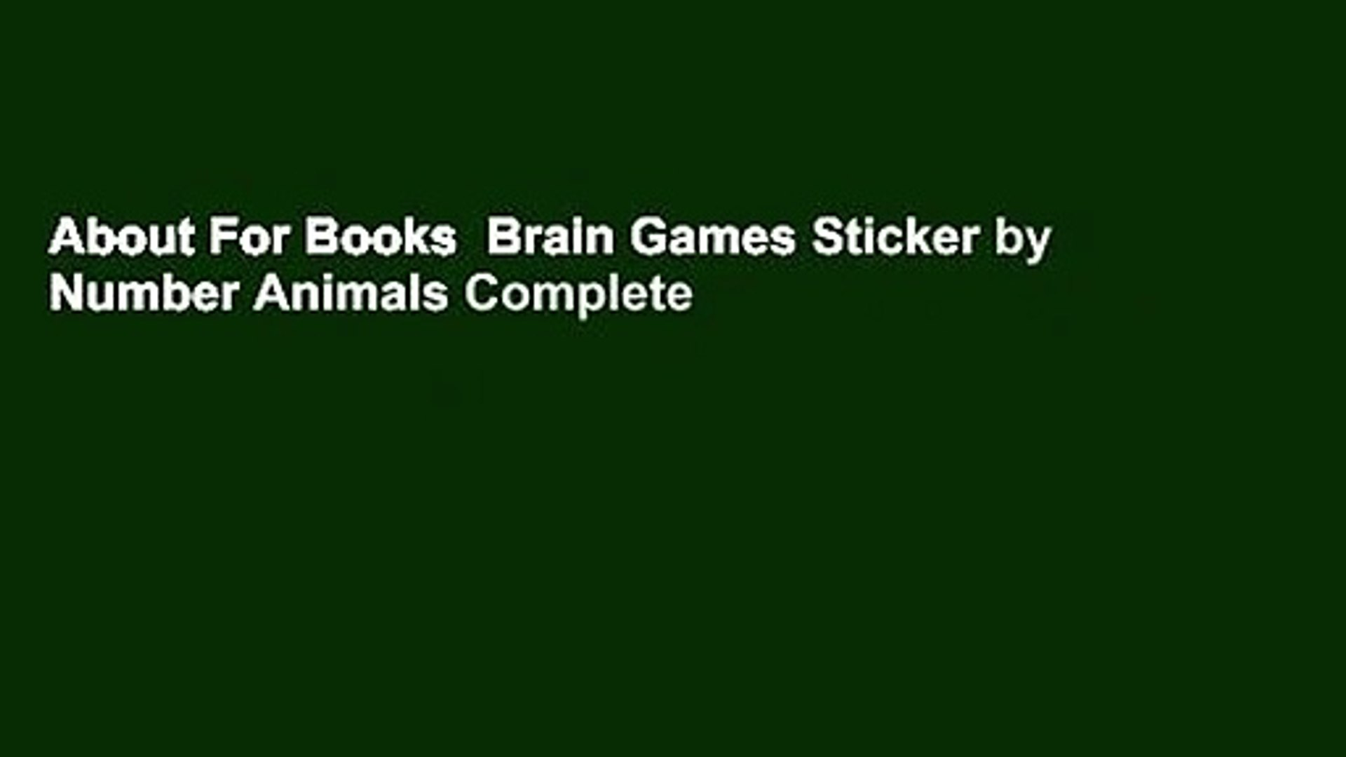 About For Books Brain Games Sticker By Number Animals