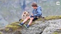 Des marmottes viennent sur les genoux de cet adolescent pour manger !