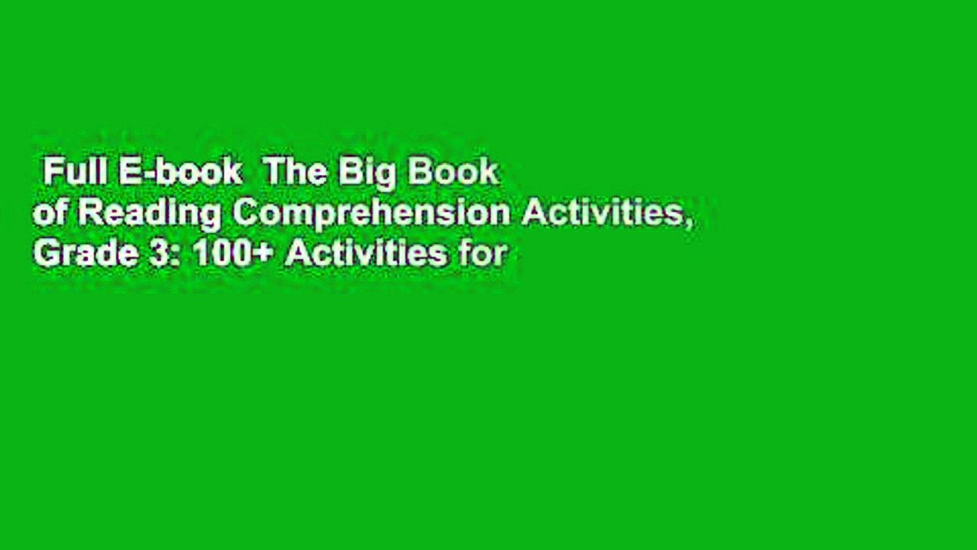 - Full E-book The Big Book Of Reading Comprehension Activities