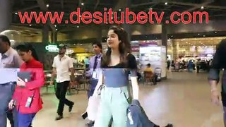 Jhanvi kapoor looking hot as every in a black top. Spotted leaving the airport