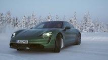 Porsche Taycan 4S in Mamba Green Ice Driving