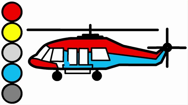 Learn Colors with Helicopter Drawing and Coloring For Kids- Teaching for Preschool Children