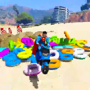 LEARN COLORS and Numbers for kids with Superhero Motorbikes and jetski Jump