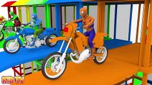Colors for Children to Learn with Spiderman w Motorcycle