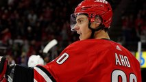 Aho dazzles with third career hat trick