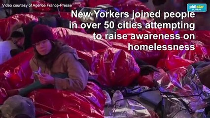 Hundreds sleep out in New York to raise awareness on homelessness