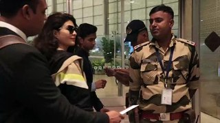 Jacquline Fernandez in black golden suit and Kala Chashma spotted at the airport. She looks gorgeous