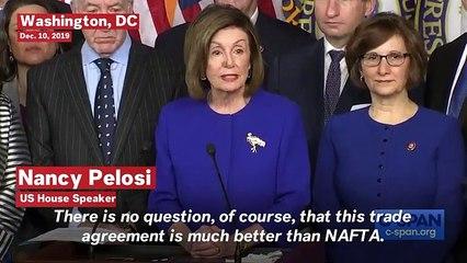 Watch: Pelosi Announces Revised USMCA Trade Agreement
