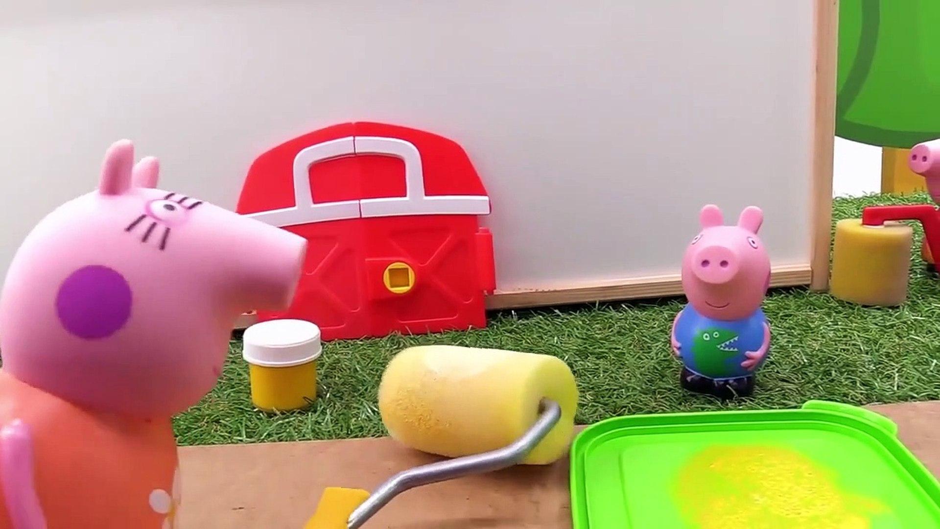 A família de Peppa Pig pinta a sua casa nova.