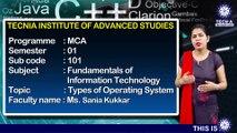 MCA || Ms. Sania Kukkar || Types of Operating System || TIAS || TECNIA TV