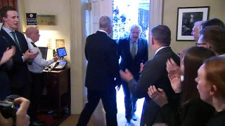 Boris Johnson met with cheers at 10 Downing Street