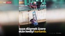 Cesur teknisyen yavru kediyi ölümden kurtardı