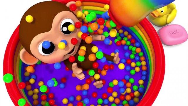 Learn Colors with Gorilla Water Slide Finger Family Song for Kid Children