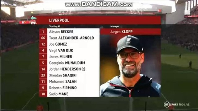 Liverpool vs Watford Starting Formation - Premier League - 14.12.2019
