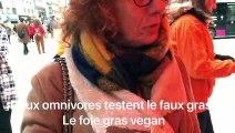 Des omnivores fan de foie gras goûtent au faux-gras : le foie gras dans le cadre d'une action L214