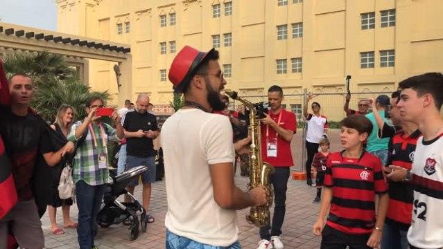 Loyal Flamengo fans dance in Doha