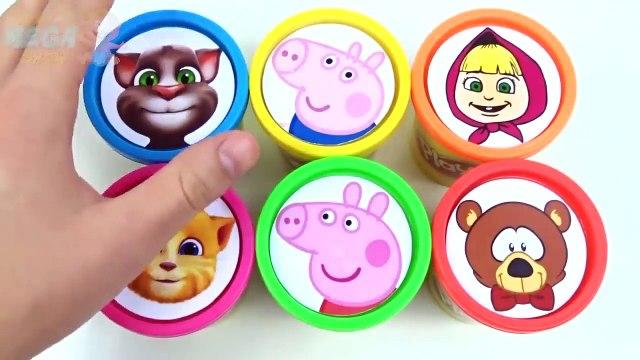 Tazas Play doh y dentro de arcilla coloreada. Divertido juego con juguetes Masha y Bear Talking Tom