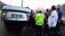 Zonguldak'da Trafik Kazası, Kontrolden Çıkan Araç Takla Attı