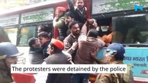 Samajwadi Party leaders protest against CAB outside UP Vidhan Sabha, detained