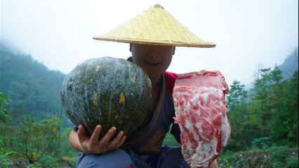 【Shyo video】排骨這樣吃才美味,4斤排骨16斤南瓜一起蒸,別提有多美味了