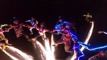 Skydivers Put on a Pyrotechnic Performance at Night