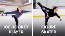 Hockey Players Try To Keep Up With Figure Skaters