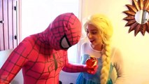 Frozen Elsa & Spiderman and, his friend is a fish and stuck in the toilet