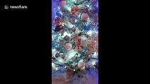 Superbe sapin de Noël version La Reine des Neiges !