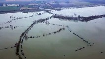 Drone footage reveals scale of flooding in English county