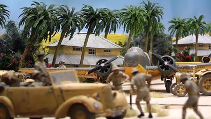 Royal Air Force base Habbaniya in Iraq: Military diorama built in forced perspective by Tony and Kate Bennet - Video by Pilentum Television about rail transport modeling, trains, model railroading, railway modelling, model railways and model railroads