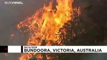 Australian firefighters battle bushfires in suburban Melbourne