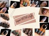 Star Dust _ Glitter Nail Polish Designs On Black Shiny Nails