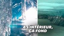 La fonte des glaciers se voit de l'intérieur avec les vidéos de ce jeune aventurier