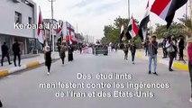 Des étudiants manifestent contre les ingérences de l'Iran et des USA