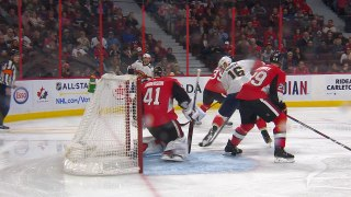 Dadonov scores after puck miraculously goes through defender's skate
