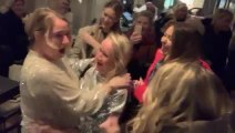 Daughters and Friends Surprise Woman by Joining Behind Her as She Takes Selfie