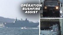 Face aux incendies, l'Australie mobilise son plus gros navire
