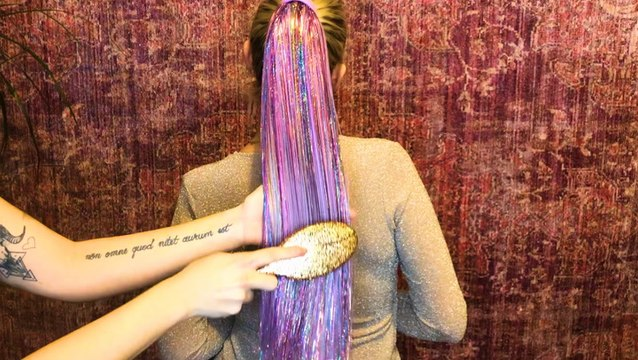 A company made glitter ponytail extensions that add sparkle to your hair