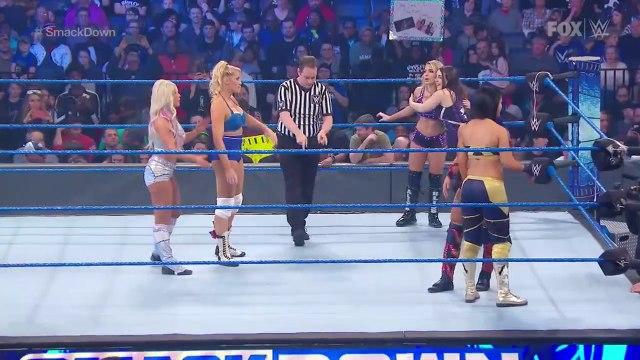 Lacey Evans and Dana Brooke pin Sasha Banks to win triple threat - FRIDAY NIGHT SMACKDOWN. HD