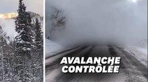 Les images spectaculaires de cette avalanche qui dévale un canyon et ensevelit la route