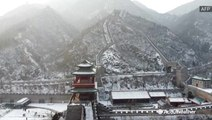Snow blankets the Great Wall of China