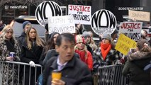 As Harvey Weinstein appears for rape trial in NYC, protesters gather